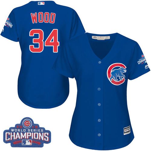 Women's Majestic Chicago Cubs #34 Kerry Wood Authentic Royal Blue Alternate 2016 World Series Champions Cool Base MLB Jersey