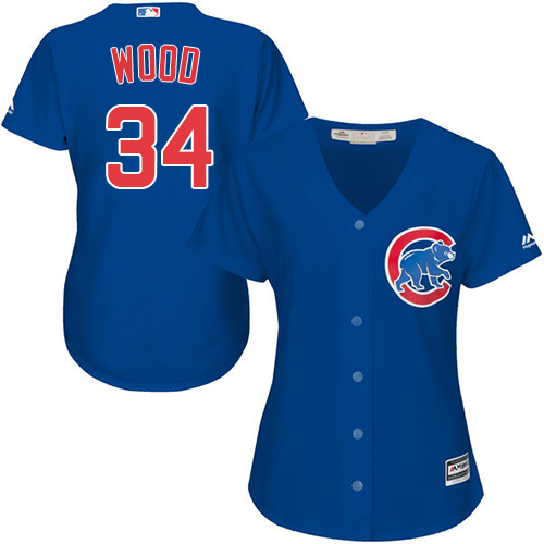Women's Majestic Chicago Cubs #34 Kerry Wood Authentic Royal Blue Alternate MLB Jersey