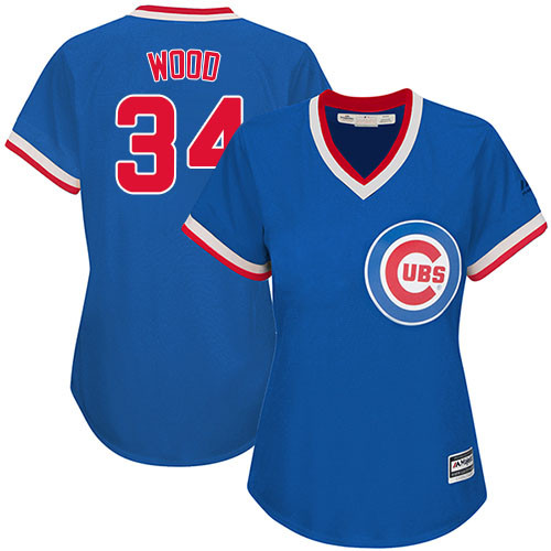 Women's Majestic Chicago Cubs #34 Kerry Wood Authentic Royal Blue Cooperstown MLB Jersey