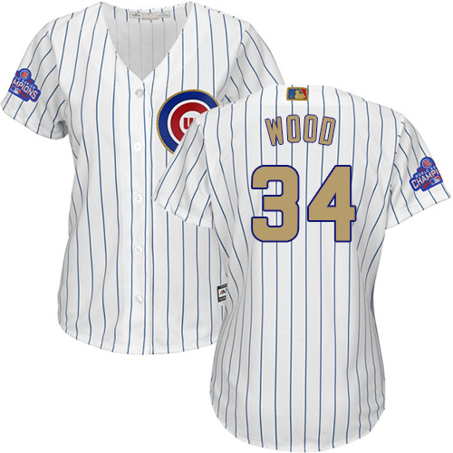 Women's Majestic Chicago Cubs #34 Kerry Wood Authentic White 2017 Gold Program MLB Jersey