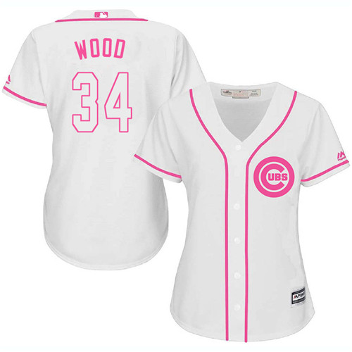 Women's Majestic Chicago Cubs #34 Kerry Wood Authentic White Fashion MLB Jersey
