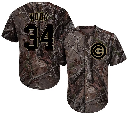 Youth Majestic Chicago Cubs #34 Kerry Wood Authentic Camo Realtree Collection Flex Base MLB Jersey