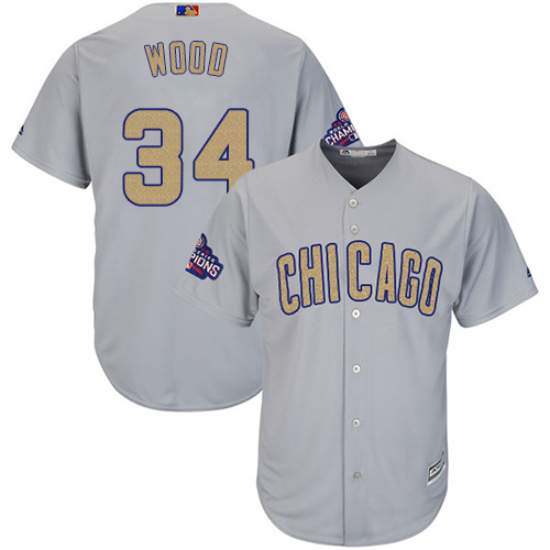 Youth Majestic Chicago Cubs #34 Kerry Wood Authentic Gray 2017 Gold Champion Cool Base MLB Jersey