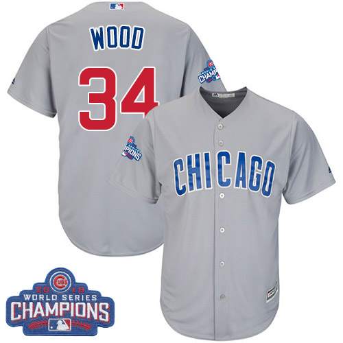Youth Majestic Chicago Cubs #34 Kerry Wood Authentic Grey Road 2016 World Series Champions Cool Base MLB Jersey