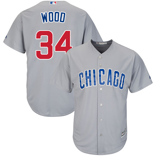 Youth Majestic Chicago Cubs #34 Kerry Wood Authentic Grey Road Cool Base MLB Jersey