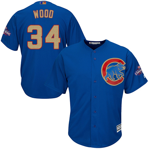 Youth Majestic Chicago Cubs #34 Kerry Wood Authentic Royal Blue 2017 Gold Champion Cool Base MLB Jersey