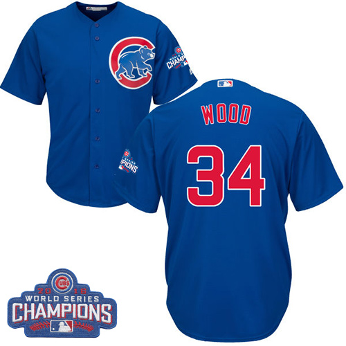 Youth Majestic Chicago Cubs #34 Kerry Wood Authentic Royal Blue Alternate 2016 World Series Champions Cool Base MLB Jersey
