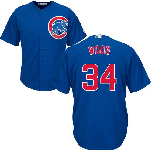 Youth Majestic Chicago Cubs #34 Kerry Wood Authentic Royal Blue Alternate Cool Base MLB Jersey