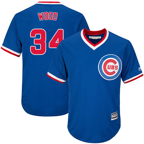 Youth Majestic Chicago Cubs #34 Kerry Wood Authentic Royal Blue Cooperstown Cool Base MLB Jersey