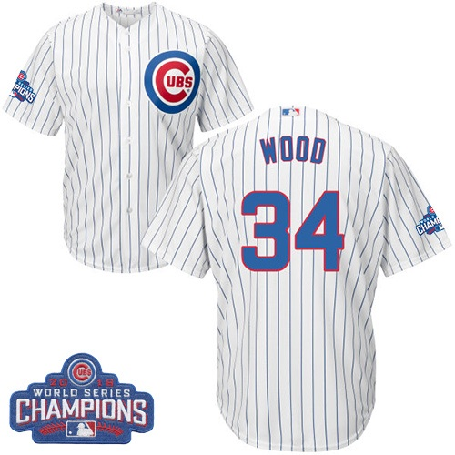 Youth Majestic Chicago Cubs #34 Kerry Wood Authentic White Home 2016 World Series Champions Cool Base MLB Jersey