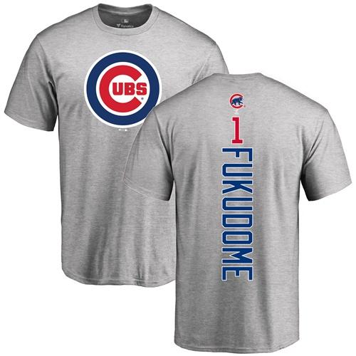 MLB Nike Chicago Cubs #1 Kosuke Fukudome Ash Backer T-Shirt