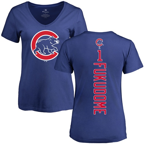 MLB Women's Nike Chicago Cubs #1 Kosuke Fukudome Royal Blue Backer T-Shirt