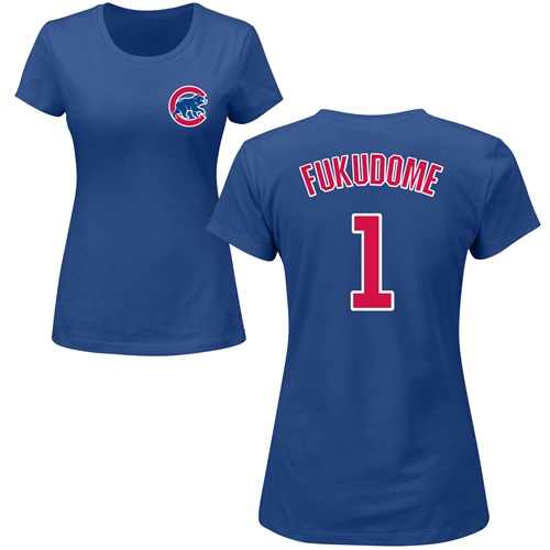 MLB Women's Nike Chicago Cubs #1 Kosuke Fukudome Royal Blue Name & Number T-Shirt