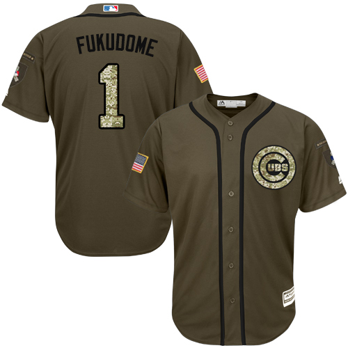 Men's Majestic Chicago Cubs #1 Kosuke Fukudome Authentic Green Salute to Service MLB Jersey