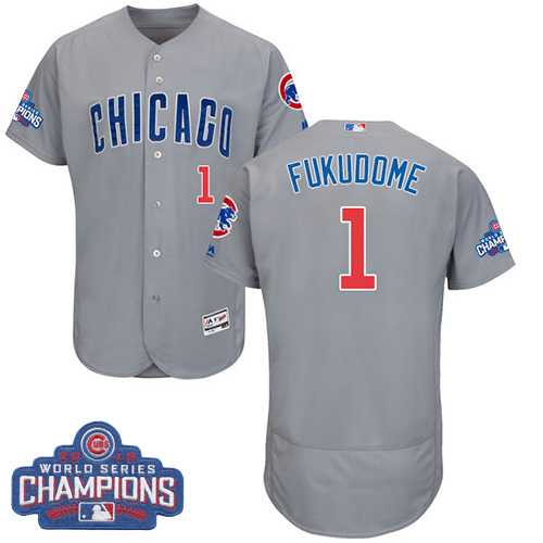 Men's Majestic Chicago Cubs #1 Kosuke Fukudome Grey 2016 World Series Champions Flexbase Authentic Collection MLB Jersey