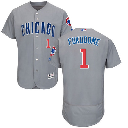 Men's Majestic Chicago Cubs #1 Kosuke Fukudome Grey Road Flex Base Authentic Collection MLB Jersey