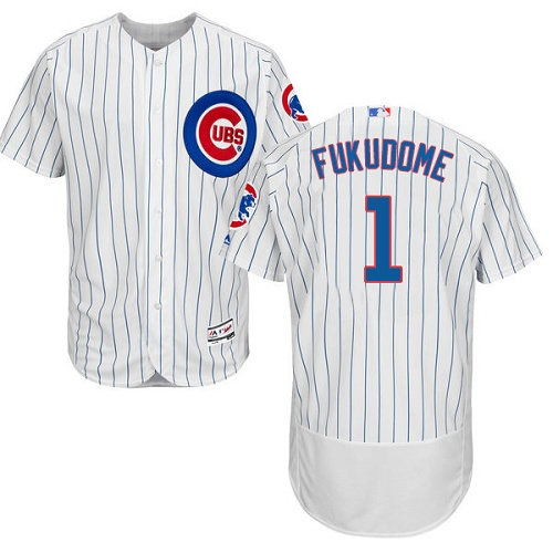 Men's Majestic Chicago Cubs #1 Kosuke Fukudome White Home Flex Base Authentic Collection MLB Jersey