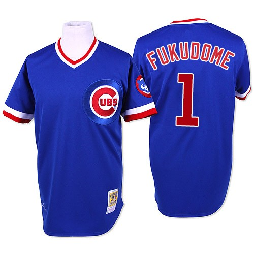 Men's Mitchell and Ness Chicago Cubs #1 Kosuke Fukudome Authentic Blue Throwback MLB Jersey