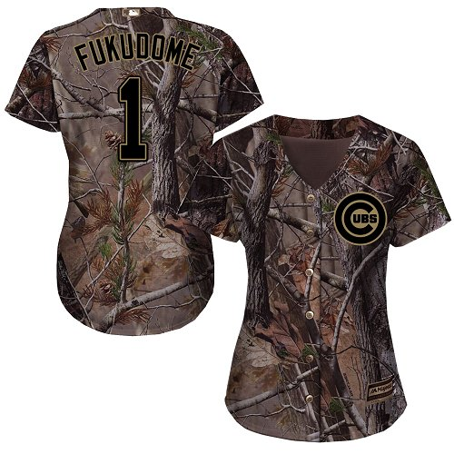 Women's Majestic Chicago Cubs #1 Kosuke Fukudome Authentic Camo Realtree Collection Flex Base MLB Jersey