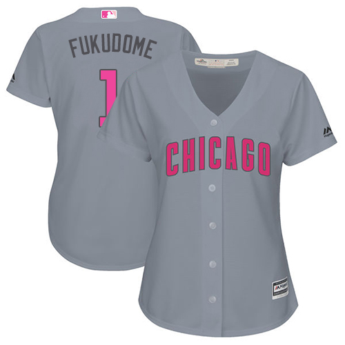 Women's Majestic Chicago Cubs #1 Kosuke Fukudome Authentic Grey Mother's Day Cool Base MLB Jersey