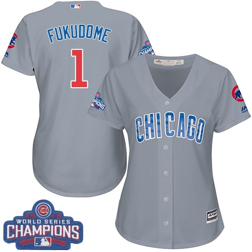 Women's Majestic Chicago Cubs #1 Kosuke Fukudome Authentic Grey Road 2016 World Series Champions Cool Base MLB Jersey