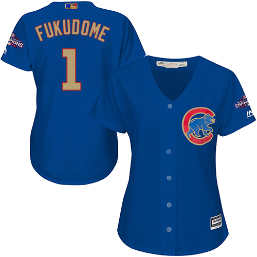 Women's Majestic Chicago Cubs #1 Kosuke Fukudome Authentic Royal Blue 2017 Gold Champion MLB Jersey