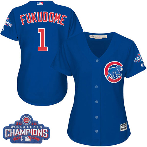 Women's Majestic Chicago Cubs #1 Kosuke Fukudome Authentic Royal Blue Alternate 2016 World Series Champions Cool Base MLB Jersey