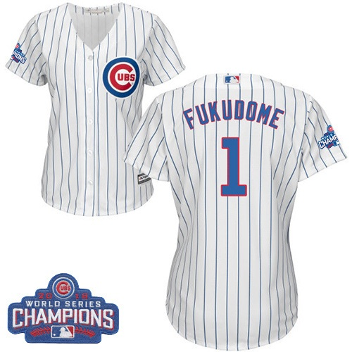 Women's Majestic Chicago Cubs #1 Kosuke Fukudome Authentic White Home 2016 World Series Champions Cool Base MLB Jersey