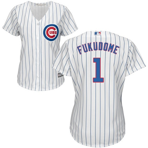 Women's Majestic Chicago Cubs #1 Kosuke Fukudome Authentic White Home Cool Base MLB Jersey