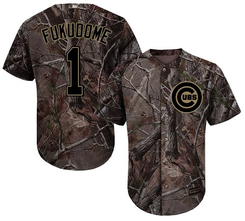 Youth Majestic Chicago Cubs #1 Kosuke Fukudome Authentic Camo Realtree Collection Flex Base MLB Jersey