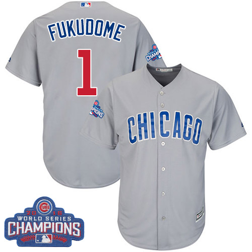 Youth Majestic Chicago Cubs #1 Kosuke Fukudome Authentic Grey Road 2016 World Series Champions Cool Base MLB Jersey