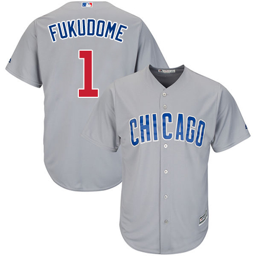 Youth Majestic Chicago Cubs #1 Kosuke Fukudome Authentic Grey Road Cool Base MLB Jersey