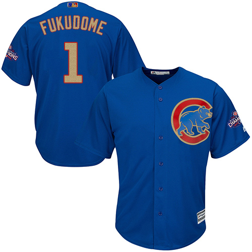 Youth Majestic Chicago Cubs #1 Kosuke Fukudome Authentic Royal Blue 2017 Gold Champion Cool Base MLB Jersey