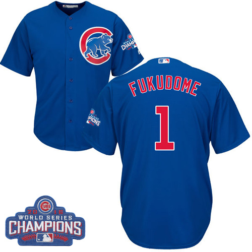 Youth Majestic Chicago Cubs #1 Kosuke Fukudome Authentic Royal Blue Alternate 2016 World Series Champions Cool Base MLB Jersey