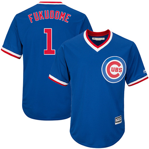 Youth Majestic Chicago Cubs #1 Kosuke Fukudome Authentic Royal Blue Cooperstown Cool Base MLB Jersey