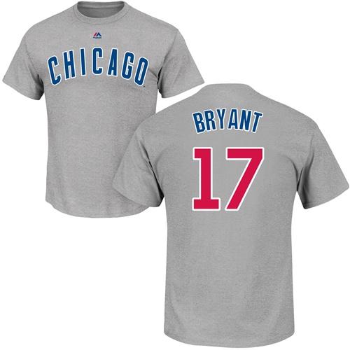 MLB Nike Chicago Cubs #17 Kris Bryant Gray Name & Number T-Shirt