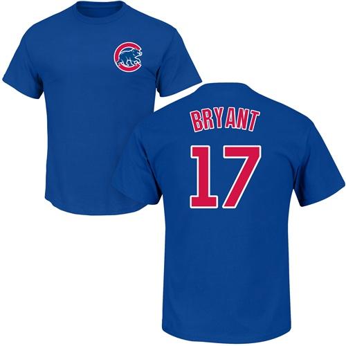 MLB Nike Chicago Cubs #17 Kris Bryant Royal Blue Name & Number T-Shirt
