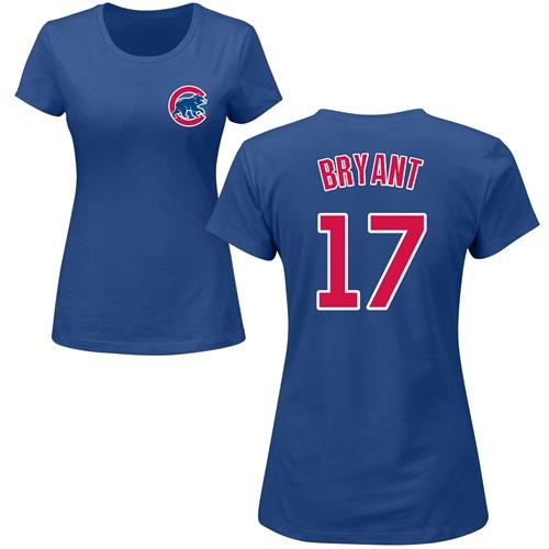 MLB Women's Nike Chicago Cubs #17 Kris Bryant Royal Blue Name & Number T-Shirt