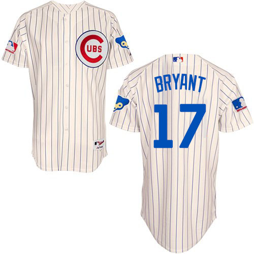 Men's Majestic Chicago Cubs #17 Kris Bryant Authentic Cream 1969 Turn Back The Clock MLB Jersey