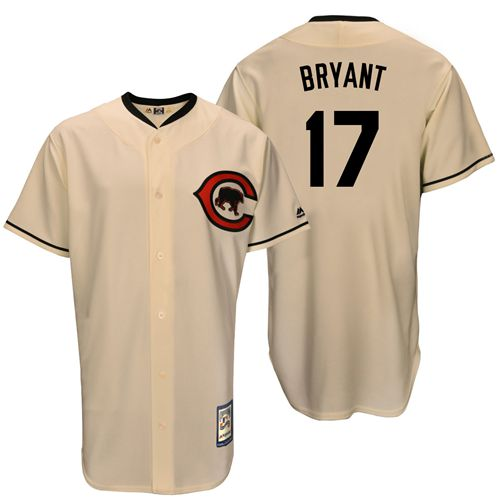 Men's Majestic Chicago Cubs #17 Kris Bryant Authentic Cream Cooperstown Throwback MLB Jersey
