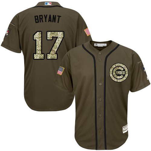 Men's Majestic Chicago Cubs #17 Kris Bryant Authentic Green Salute to Service MLB Jersey
