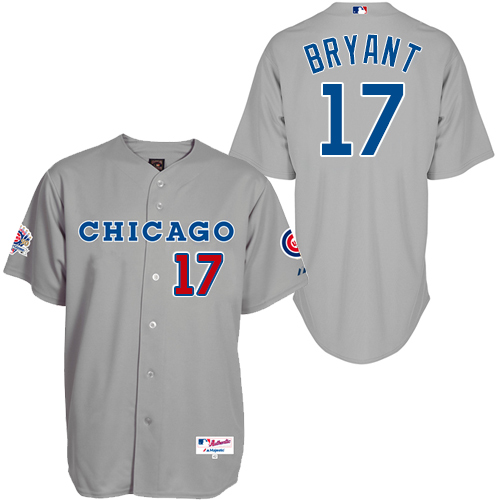 Men's Majestic Chicago Cubs #17 Kris Bryant Authentic Grey 1990 Turn Back The Clock MLB Jersey