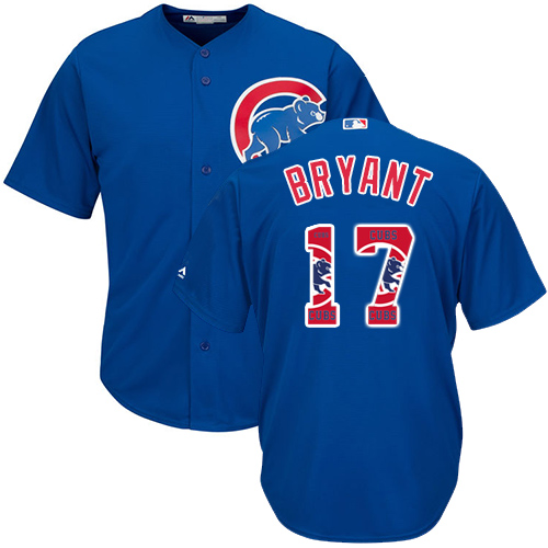 Men's Majestic Chicago Cubs #17 Kris Bryant Authentic Royal Blue Team Logo Fashion Cool Base MLB Jersey