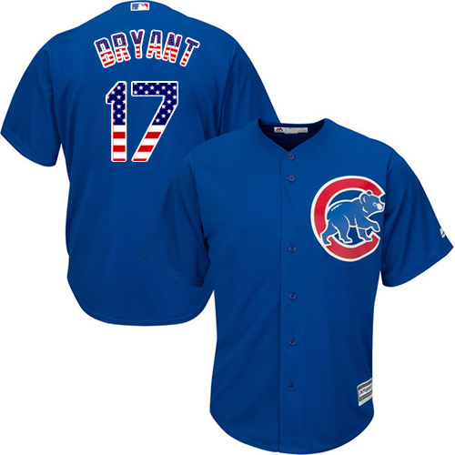 Men's Majestic Chicago Cubs #17 Kris Bryant Authentic Royal Blue USA Flag Fashion MLB Jersey