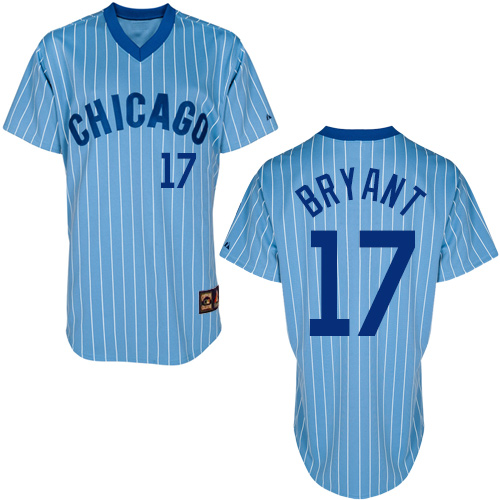 Men's Majestic Chicago Cubs #17 Kris Bryant Replica Blue/White Strip Cooperstown Throwback MLB Jersey