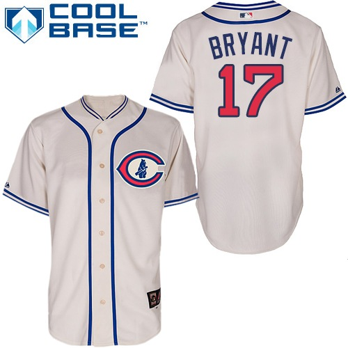 Men's Majestic Chicago Cubs #17 Kris Bryant Replica Cream 1929 Turn Back The Clock MLB Jersey
