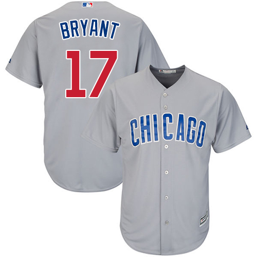 Men's Majestic Chicago Cubs #17 Kris Bryant Replica Grey Road Cool Base MLB Jersey