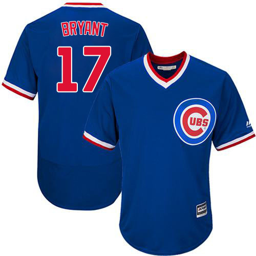 Men's Majestic Chicago Cubs #17 Kris Bryant Replica Royal Blue Cooperstown Cool Base MLB Jersey
