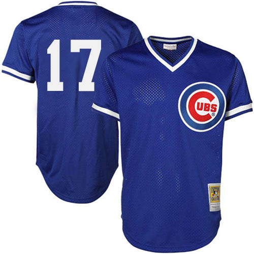 Men's Majestic Chicago Cubs #17 Kris Bryant Replica Royal Blue Throwback MLB Jersey