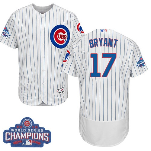 Men's Majestic Chicago Cubs #17 Kris Bryant White 2016 World Series Champions Flexbase Authentic Collection MLB Jersey